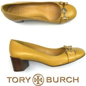 Tory Burch Mustard Leather Gold Logo Pumps